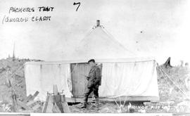 """Packers tent; George Clark""; George packed for Moore and Dixon when the townsite was b..."