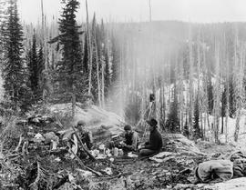 Collings brothers and Maurice Gillis camping above Seymour Arm