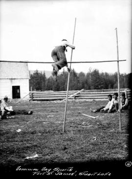 """Dominion Day sports, Fort St. James, Stuart Lake""; Currie vaulting"