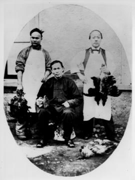 [The Chinese servants of Government House, Victoria.  Two cooks holding dead game birds, and one ...