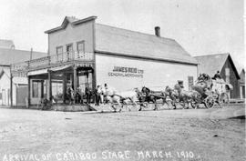 """Arrival of Cariboo stage, March 1910; Al D. Young, driver"""