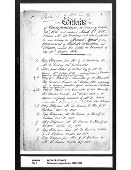 Table of contents of correspondence