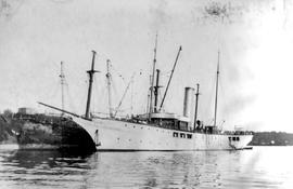 "James Dunsmuir's steam yacht ""Dolaura"" coaling from the coal ship ""Baroda"""