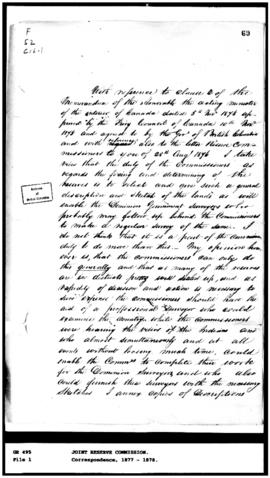 (Fragment of a recommendation that a survey be attached to the Indian Reserve Commission, n.d., u...