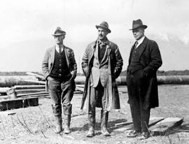 """Col. R.D. Davies, Messrs. Sinclair and Munro of the Land Settlement Board at Sumas"""