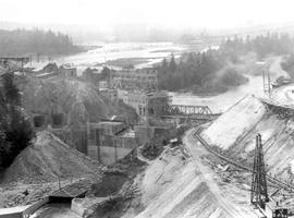 """Main road over bridge from Mission to Vancouver passes to left of sawmill in far distance&q..."