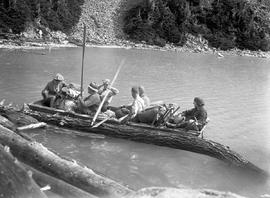 Launching a hand-made boat on Daisy Lake, Garibaldi; box 36.