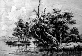 Copy Of An Etching [Showing Trees By Water, Cattle, Men With Boat]