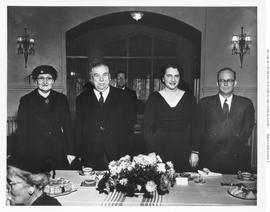 A party held for the blind; left to right, Mrs. W.A.C. Bennett, Lieutenant Governor Frank Ross, M...