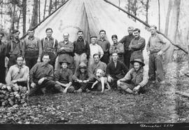 Group of surveyors in the northern prairies; Guy Houghton Blanchet fourth from the right, wearing...
