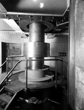 """Photograph No. R.P. 388, Ruskin development, view showing turbine shaft below generator, an..."