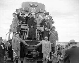 Inaugural trip of the Pacific Great Eastern Railway; Peace River Special; Premier W.A.C. Bennett and others