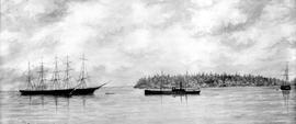 From left to right are the barques Old Dominion and Lady Lampson, the SS Emily Harris and the brigantine R. Cowan at Sooke Harbour.