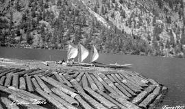 Log boom on Seton Lake.