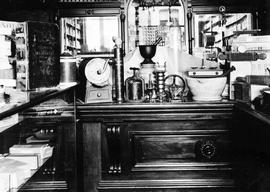 The interior of Shotbolt's Pharmacy; T. Shotbolt, Chemist and Druggist, Johnson Street, Vict...