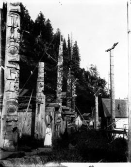 Totems at Gold Harbour, Queen Charlotte Islands.