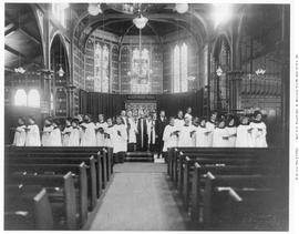 Interior of St. John's Church, also known as the Iron Church; showing clergy and choir.