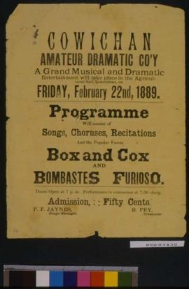 """Box And Lox"", ""Bombastes Furioso"": Cowichan Amateur Dramatic Society."