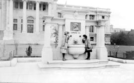 """King Edward VII memorial fountain, Vancouver, BC, May 1912""; in front of the Vancouver..."
