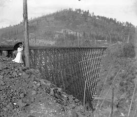 A woman with a parasol at the Centre Star Mine trestle.