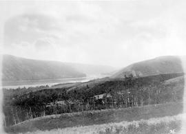 Looking up Peace River Valley from hill behind Dunvegan