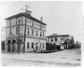 Albion Iron Works, corner of Chatham and Store Streets, Victoria, looking east on Chatham
