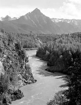 Hagwilget Canyon, Bulkley River and Mount Roche de Boule