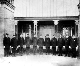 Fire Department Group Portrait; Bastion Square, Victoria.