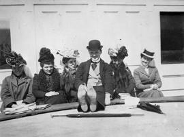 Robin Dunsmuir at centre; with  his mother, Laura Dunsmuir second from right, and her friends; on...