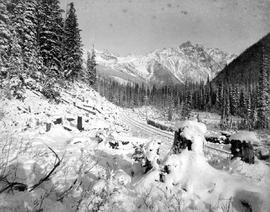 The Canadian Pacific Railway tracks through the Selkirks at Rogers' Pass; Mount Hermit.