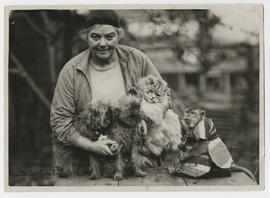 Emily Carr with Woo, Adolphus and two Griffons.
