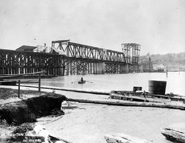 """Superstructure, south shore""; construction of the Fraser River Bridge in New Westminster."