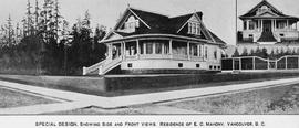 """Special design, showing side and front views. Residence of E.C. Mahoney, Vancouver, BC."""