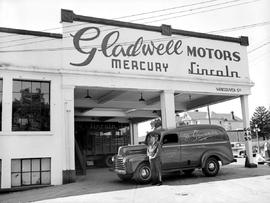 Scott and Peden Grocery truck at Gladwell Motors, southwest corner of Vancouver and Yates Street,...