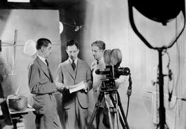 Director Lew Parry [left], producer Leon Shelly and cameraman Mel Parry at Shelly's Motion S...