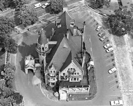 An aerial view of Craigdarroch Castle, Victoria.