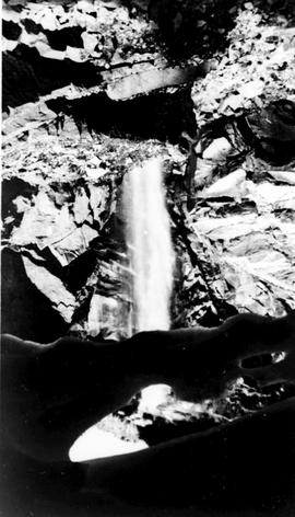 Swannell Survey; a waterfall in the mountains.