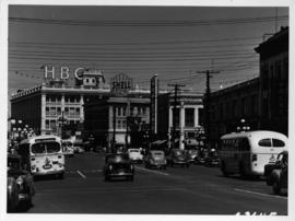 Looking north on Douglas Street from Johnson Street, Victoria; Hudson's Bay Company, Fairfie...
