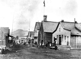 Barkerville showing Cariboo Gold Fields Office, Bill Forest's Saloon and Billiard Hall, Fire Hall, etc