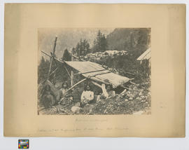 Indians encamped.  Indian hut at Chapmans [Chapman's] Bar, Fraser River, Brit. Columbia. no. 47