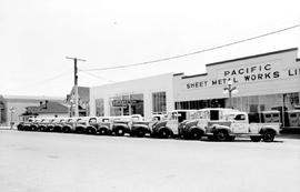 Northwestern Creamery's Truck Fleet Outside The Plant At 1015 Yates Street, Victoria.