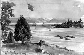 Sakalie Camp, Esquimalt [Showing Harbour And Boats From Shore]