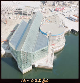 Aerial photo of the BC pavilion for Expo 86 in Vancouver