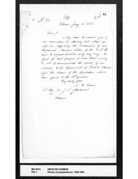 Amor De Cosmos to Sir John A. Macdonald: re interview concerning Esquimalt-Nanaimo Section of Can...