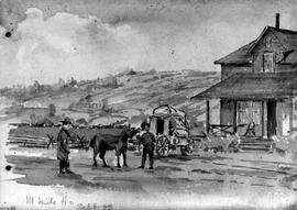 111 Mile Ho [House] [Showing Figures And Stagecoach]