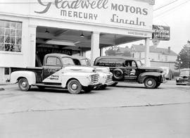 Gladwell Motors, Lincoln, Mercury, Chevron Gas Station; parts trucks; Vancouver and Yates Streets...