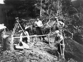 Setting the boundary monument for the BC/Yukon boundary survey.