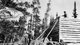 Forest Service; construction of  Verdun lookout by Young Men's Forestry Training Plan (Y.M.F.T.P.).