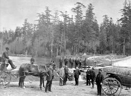 Victoria's Mayor Fell and others at the waterworks at Beaver Lake, near Victoria.