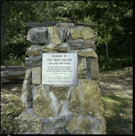 Forest Service Ranger Station, Cinnemousun Narrows, cairn.